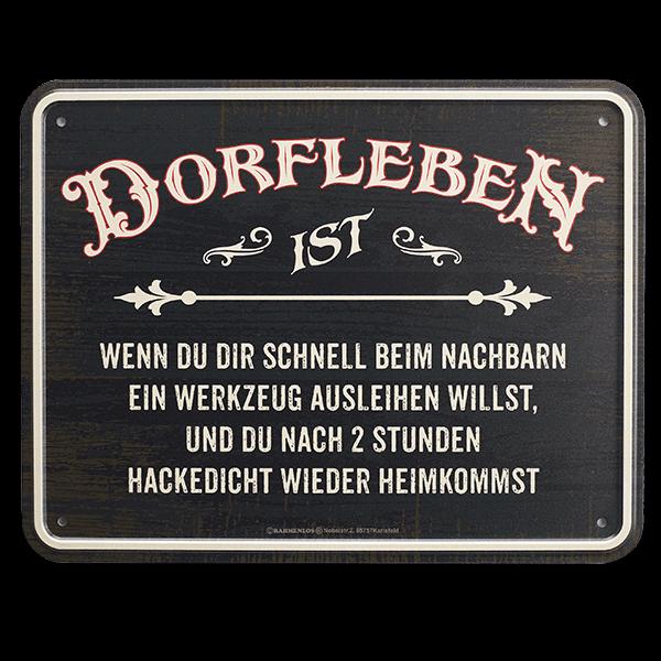 "Blechschild ""Dorfleben"""