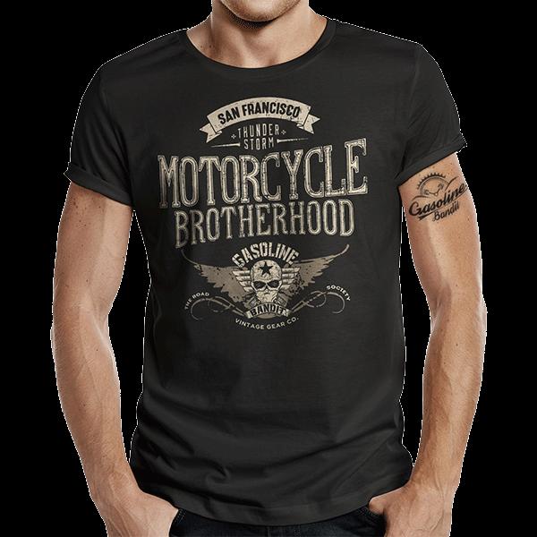 """T-Shirt """"Motorcycle Brotherhood"""" von Gasoline Bandit"""