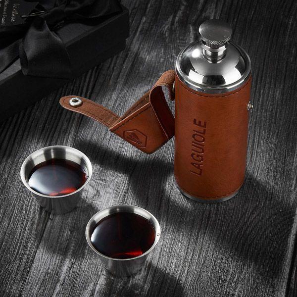 Reiseflasche mit 2 Edelstahlbecher von Laguiole