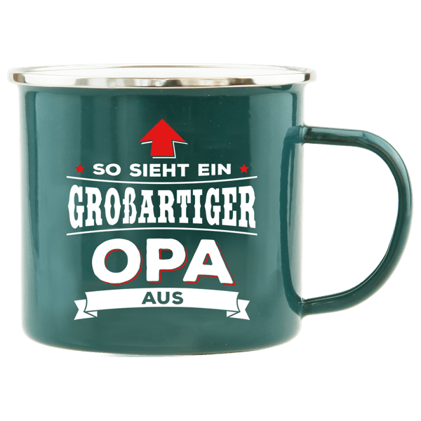 """Emaille Becher """"Opa"""""""